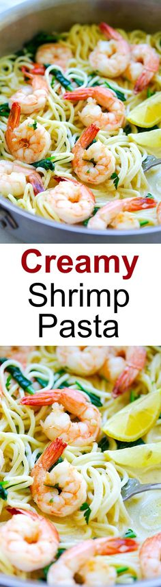 Creamy Shrimp Pasta Creamy Shrimp Pasta – easy pasta recipe with shrimp, spaghetti in a buttery and creamy sauce. Cooked in one pot, dinner is ready in 20 mins | rasamalaysia.com