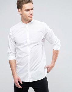Jack & Jones Premium Slim Grandad Shirt in Texture - White