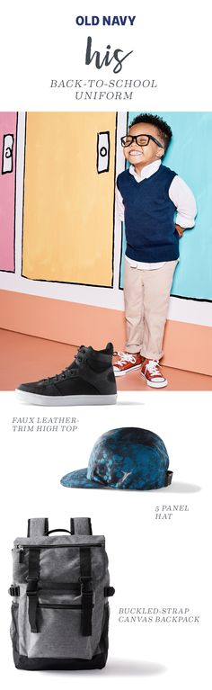 Even if you're little guy's got to rock a uniform this fall, he can show off his growing style sensibility with his kicks. But because boys will be boys, their shoes also need to be adventure-durable. Enter our high-tops which are accented by a faux-leather trim and lace-up front. Pro tip: He can swap out the laces whenever he gets bored. Available in Blue or Blackjack colorways.