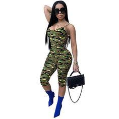 e37332e75f3a New Arrival 2019 Summer Women Bodycon Jumpsuits Sexy Spaghetti Strap Camo  Print Rompers Female Slim Streetwear Jumpsuits