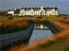 Carnoustie is the toughest assignment on the Open roster and perhaps a Golf Digest world ranking of just 31 is a bit harsh given the number of brutal holes you have to conquer. The Barry Burn is a notorious water serpent that slithers through its final fairways. Ask Jean van de Velde! http://www.faraway-fairways.com/best-tour-in-the-world/ #golf #scottishgolf #golfscotland #standrews #golfvacations #golfbreaks #bestgolf #golftours