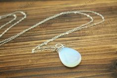 the moonstone jewelry  White Opal Necklace  by pandoraalina, $4.59