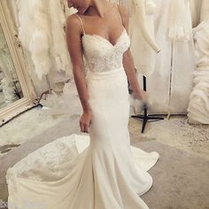 2015 Sweetheart Spaghetti Straps Sexy Lace Pearl Mermaid Wedding Dresses Custom