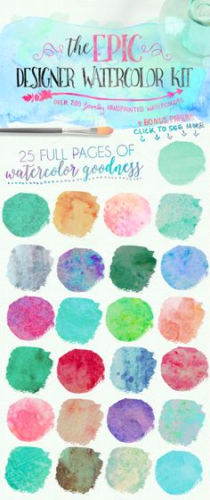 SALE: Epic Designer Watercolor Kit by WeLivedHappilyEverAfter on @creativemarket