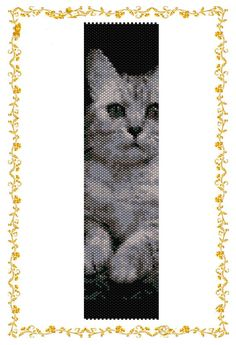Peyote beading pattern Bracelet Cat2 . Cuff. Template for Delica 11    Dimensions: 7,47 inches (rows108) of 2 inches (columns 38). You need 7 colors.