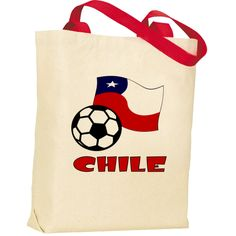 Image on #totebag shows the Chilean Flag with a soccer or football in the front and the word #CHILE in red letters. Lots of fun in sharing your culture, heritage and ancestry while supporting Team Chile. $12.99 http://ink.flagnation.com Design by @AuntieShoe