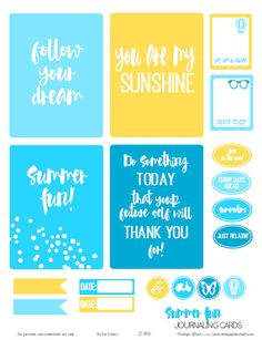 FREE Summer Fun Journaling Cards | Free printable download Summer by Vintage Glam Studio