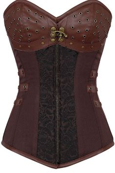 Steampunk clothing has never been so popular and this steampunk corset is no exception. Look closely at the details of the corset and you'll fall in love. This new arrival features modesty panel with1
