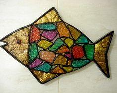 Peixe decorativo em vitral.