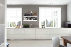 gray wall in white kitchen