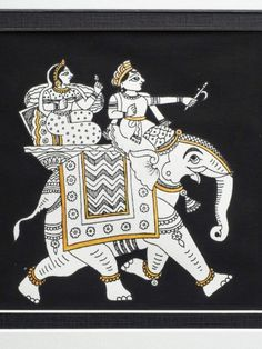 An Indian Phad painting from Rajasthan depicting a lady and gentleman riding on a caparisoned elephant. A fine example of Indian folk art painting. Madhubani Art, Madhubani Painting, Interior Paint Colors, Interior Painting, Painting Doors, Purple Interior, Brown Interior, Interior Ideas, Design Seeds