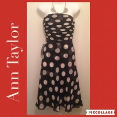 Ann Taylor Polka dots Dress Strapless dress, come with them. NWT. A line. Seamless zipper and has adjustable strap inside.•Take reasonable Offers.  •Smoke & Pet Free Home •Please ask for measurements, that way we have a great transaction.  Thanks  #lakaren77 Ann Taylor Dresses Midi