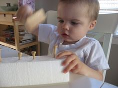 Weekend Repost : Mr. Fix it ! - No Time For Flash Cards. 1. Styrofoam 2. golf tees 3. child's hammer.  Simple!