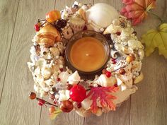Item 151 Coastal Autumn Centerpiece by SouthernCharmSeaside Seashell Centerpieces, Us Beaches, Southern Charm, Thanksgiving Decorations, Tablescapes, Sea Shells, Autumn, Fall, Coastal