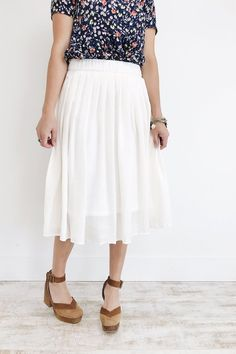 White Skirt with Elastic Waist + Lining   ROOLEE