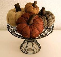 fabric pumpkin -- I have one of these made of felt with a big green leaf and a stick hot glued for a stem Diy Pumpkin, Pumpkin Crafts, Fabric Pumpkins, Fall Pumpkins, Velvet Pumpkins, Autumn Crafts, Holiday Crafts, Fall Halloween, Halloween Crafts
