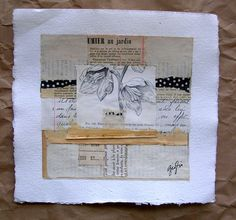 "caterina giglio: ""jardin"" mixed media with fabric stitching, italian collage and old book pages. from her french paper series."