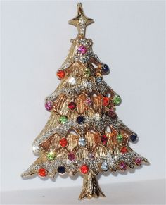 Castlecliff Signed Glitter Christmas Tree Pin ~ Book Piece  Under The Sea Exclusive to Ruby Lane  www.rubylane.com