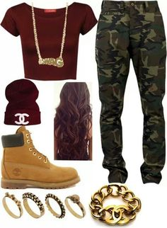 jeans camo pants timberlands gold camouflage hat shirt jewels shoes pants red crop top beanie swag t-shirt burgundy thug life thug life boots workout crop tops long hair rings and tings bracelets blouse dope dope top Teenage Outfits, Teen Fashion Outfits, Fashion Mode, Outfits For Teens, Fall Outfits, Summer Outfits, Womens Fashion, Girl Jordan Outfits, Outfits With Jordans