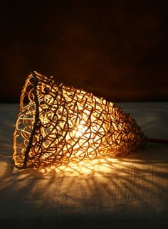 Woven paper lamp Baladeuse by Best Before  Handwoven paper lampshade called Baladeuse by Best Before. #thecollection