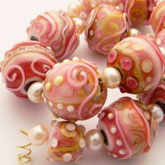 Pink Confection by Fire-Imp Lampwork Beads