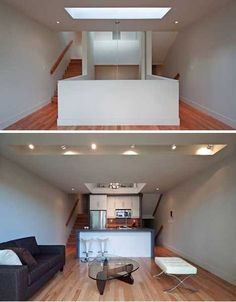 The Shaft House is named after its center staircase, which runs through the center of the home, connecting the floors to one another. The interior shaft provides circulation and plenty of central light.