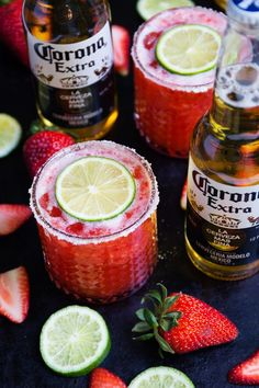 It's almost Cinco de Mayo! Try Strawberry Beer Margaritas. Make a batch of these for your next Cinco de Mayo party! #CollectiveBias #CervezaCelebration Msg 4 21+  * sponsored
