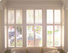 Give your living room a lift with our range of window shutters. Perfect for privacy, light control, insulation and Bay Windows. Blinds For French Doors, Blinds For Windows, Curtains With Blinds, Bay Windows, White Shutters, Interior Window Shutters, Victorian Living Room, Edwardian House, Interior Design Degree