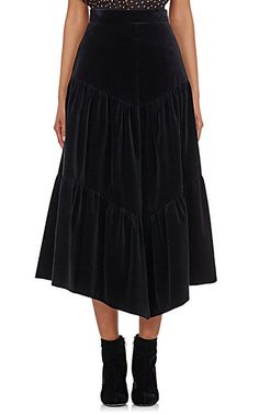 Saint Laurent Tiered Velvet Midi-Skirt - Maxi - Barneys.com