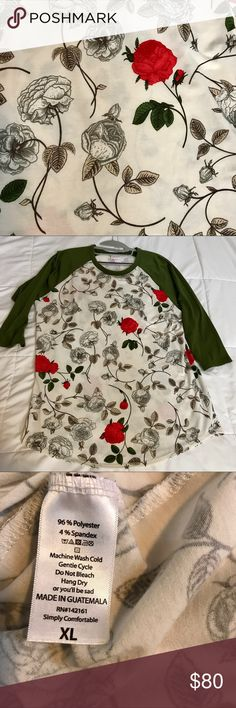 LuLaRoe Randy Excellent used condition LuLaRoe Randy in an extremely hard to find, vintage print with roses. Some light pilling, but no other signs that I can find of stains or  wear. I could have missed something, but I've checked it as closely as I can. Worn and washed per company guidelines. I have (another) baby on the way so I need to sell some of my valued lovelies and use the money for other things. I reserve the right to chicken on selling this because I love it. 🙈🙈🙈 LuLaRoe Tops
