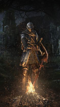 Dark souls, warrior, fire, armour suit, outdoor, 720x1280 wallpaper