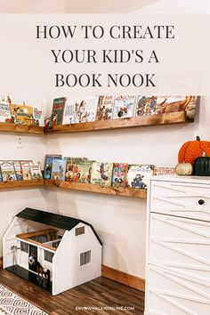 In this blog post I'm sharing some kids book nook ideas! I love how ours turned out, I wanted to make it very easy for the kids to have eyes on their favorite books. #bookshelf #booknook