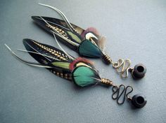 Organic Plugs / Dangle Plugs / Natural Feather von Chrysalism