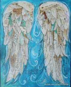 """Wings of Love Mixed media original Titled ANGELS by grafittigirl"" would love to do this for my art journal (which I hope to be starting soon 😄) Angel Wings Painting, Angel Art, Angel Wings Art, Kunstjournal Inspiration, Art Journal Inspiration, Journal Ideas, Mixed Media Canvas, Mixed Media Collage, Multimedia Arts"