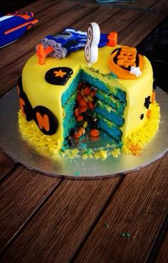 Inside of nerf gun cake