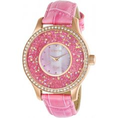 Invicta Angel Pink Dial Ladies Watch (1.535 BRL) ❤ liked on Polyvore featuring jewelry, watches, analog watches, invicta watches, dial watches, pink jewelry and pink watches