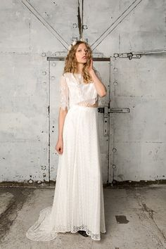 £550 Maxi length lace skirt with train Jean by IndiebrideLondon on Etsy