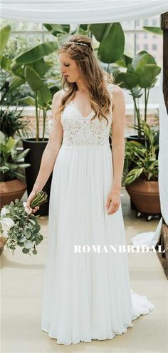 A-line V-neck Appliques Beading Backless Long Chiffon Wedding Dresses, – RomanBridal Wedding Dress Chiffon, Long Wedding Dresses, Cheap Wedding Dress, Lace Dress, Formal Dresses, Lace Wedding, How To Make Shoes, Dress Backs, Dream Dress