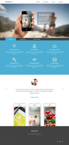 OkidoApp is a beautiful responsive, retina ready, landing page template with some impressive intro slideshow transitions. Its a flat design with decent professional blue and grey colors. Mobile Web Design, Web Ui Design, Branding Design, Flat Design, Design Design, Packaging Design, Design Ideas, Layout Site, Web Layout