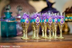 Dollar store glasses, painter with gold shimmer paint and filled with candies as take home Aladdin Birthday Party, Aladdin Party, Sofia The First Birthday Party, 6th Birthday Parties, Jasmin Party, Princess Jasmine Party, Disney Princess Party, Arabian Party, Arabian Nights Party