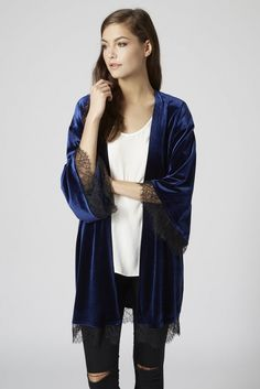 Stay warm with a velvet lace kimono this December.