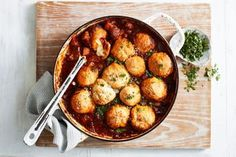 This easy beef brisket stew, topped with cheesy bread dumplings, is the ultimate hearty dish for chilly evenings. It's also a great meal prep option when you've got a busy week ahead. Mushroom Pie, Chips Ahoy, Granola, Pastas Recipes, Dinner Recipes, Savoury Recipes, Beef Recipes, Bread Dumplings, Bombe Recipe