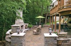 patio+under+deck | Patio under deck and fireplace