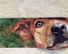 """""""Waiting For My Master's Return."""" The title is based on Matthew  24:42.  This portrait quilt was made for the 2012 IQA Celebrity Mini-quilt Silent Auction.  It is 19 x 15."""