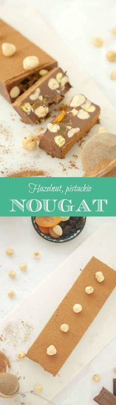 Delicious hazelnut, pistachio, raisin, dried apricot nougat. Vegan option for Christmas dessert. Englsih recipe included.