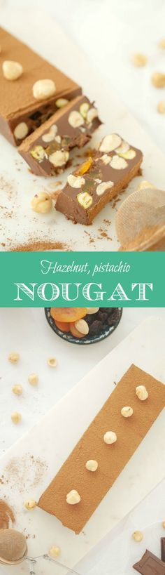 Delicious hazelnut, pistachio, raisin, dried apricot nougat. Vegan option for Christmas dessert. Englsih recipe included.