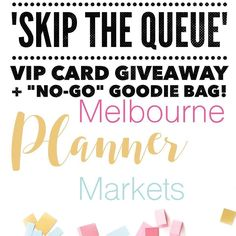 Melbourne Planner Markets - Win Your Way to the Front of the Line LOOP Giveaway We are giving you the chance to win your way to the front of the line at the MELBOURNE PLANNER MARKETS on February 12th! One lucky winner will get their hot little hands on a coveted VIP card which will give you access to discounts and freebies at the 27 vendor stalls at this event! AND thats not all! We know there are people who arent able to attend so one lucky No Go-er will win a goodie bag filled with…