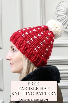 Fair Isle Hat Knitting Pattern Free. Make your own festive hat to wear over the holiday season. #freehatpatterns #hatpattern #holidayhat #fairislehat #knitting #knithat Free Knitting Patterns For Women, Beginner Knitting Patterns, Fair Isle Knitting Patterns, Christmas Knitting Patterns, Knitting For Beginners, Easy Knitting, Sock Knitting, Knitting Tutorials, Vintage Knitting