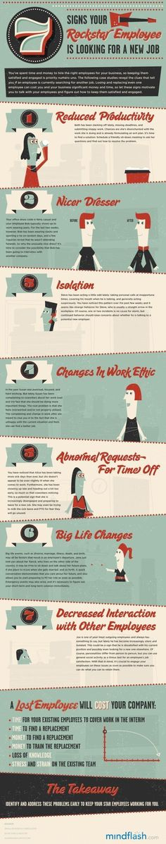 Business and management infographic & data visualisation 7 Signs Your Rockstar Employee Is Looking for a New Job Infographic. Hr Management, Talent Management, Business Management, Project Management, Leadership, Neuer Job, Good Employee, Work Ethic, Employee Engagement
