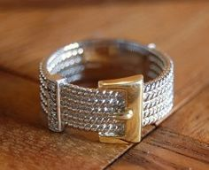 Belt Buckle Design .925 Sterling Silver and Vermeil Band Ring